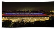 Luzhniki Stadium At Summer Night Against The Background Of The Ministry Of Foreign Affairs, The Cath Beach Towel