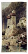 Lynmouth In Devonshire Beach Towel by Myles Birket Foster