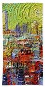 Lyon Sunrise Glow - Modern Impressionist Stylized Cityscape Beach Sheet
