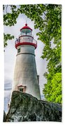 Mablehead Light From The Rocks Beach Towel