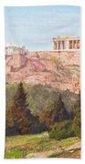 Macco, Georg 1863 Aachen - 1933   The Acropolis Of Athens. Beach Towel