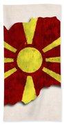 Macedonia Map Art With Flag Design Beach Towel