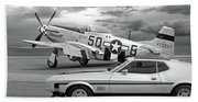 Mach 1 Mustang With P51 In Black And White Beach Towel