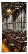 Machinist - A Room Full Of Lathes  Beach Towel by Mike Savad