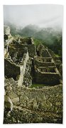Machu Picchu In The Fog Beach Towel
