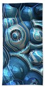 Macro 3d Blue Reflections Beach Towel