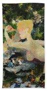 Madame De Pompadour In The Garden Of Eden Beach Towel