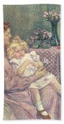 Madame Van De Velde And Her Children Beach Towel by Theo van Rysselberghe