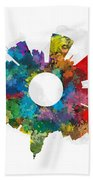 Madison Small World Cityscape Skyline Abstract Beach Towel