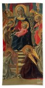 Madonna And Child Enthroned With Angels And Saints Beach Towel