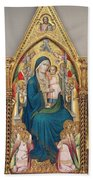 Madonna And Child Enthroned With Twelve Angels Beach Towel