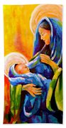 Madonna And Child Painting Beach Sheet