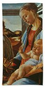 Madonna And Child With An Angel Beach Sheet
