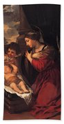 Madonna And Child With Child And Angles Beach Towel