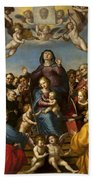 Madonna And Child With Saint Anne And The Patron Saints Of Florence Beach Towel