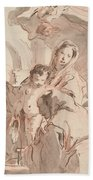 Madonna And Child With Saint Beach Towel