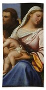 Madonna And Child With Saints And Donors Beach Towel