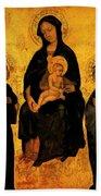 Madonna In Gloria Between Saint Francis And Santa Chiara Gentile Beach Towel