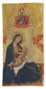 Madonna Of Humility The Blessing Christ Two Angels And A Donor Beach Towel
