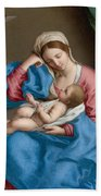 Madonna With The Infant Christ Child Holding A Goldfinch On A String  Beach Sheet