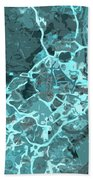 Madrid Abstract Map, Blue Traffic Map, Europe Beach Towel