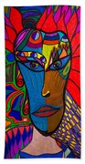 Magdalena On Fire - Mask - Abstract Face Beach Towel