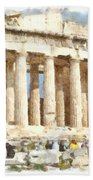 Magnificent Acropolis In Athens Beach Towel