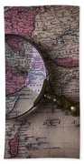 Magnifying  Glass On Old Map Beach Towel