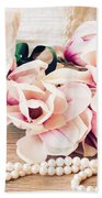Magnolia Flowers With Pearls Beach Towel