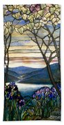 Magnolias And Irises Beach Towel