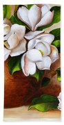 Magnolias In A Clay Pot Beach Towel