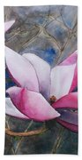 Magnolias In Shadow Beach Towel