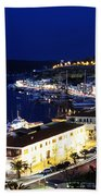 Mahon Harbour At Night Beach Towel