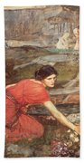 Maidens Picking Flowers By The Stream Beach Towel
