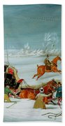 Mail Coach In The Snow Beach Towel