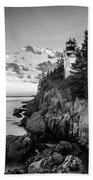 Maine Acadia Bass Harbor Lighthouse In Black And White Beach Towel by Ranjay Mitra