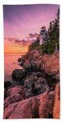 Maine Acadia Bass Harbor Lighthouse Sunset Beach Towel by Ranjay Mitra