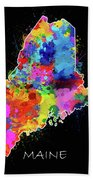 Maine Map Color Splatter 2 Beach Towel