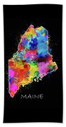 Maine Map Color Splatter 2 Beach Towel