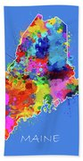 Maine Map Color Splatter 3 Beach Towel