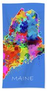 Maine Map Color Splatter 3 Beach Towel