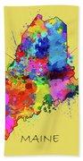 Maine Map Color Splatter 4 Beach Towel