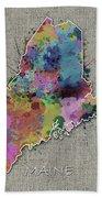 Maine Map Color Splatter 5 Beach Towel