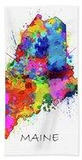Maine Map Color Splatter Beach Towel