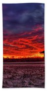 Majestic Red Clouds Winter Sunset The Iron Horse Art Beach Towel