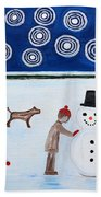 Making A Snowman At Christmas Beach Towel by Patrick J Murphy