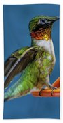 Male Hummingbird Spreading Wings Beach Towel