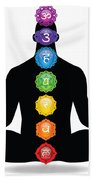 Male Silhouette Chakra Illustration Beach Towel