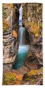 Maligne Canyon Falls Vertical Panorama Beach Towel