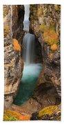 Maligne Canyon Vertical Panorama Beach Towel